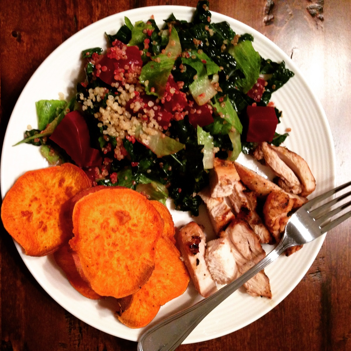 Beets, Quinoa & Kale Salad with Grilled Chicken and Sweet Potatoes ...